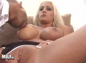 Hot blonde mature anal fucked by a black mega cock